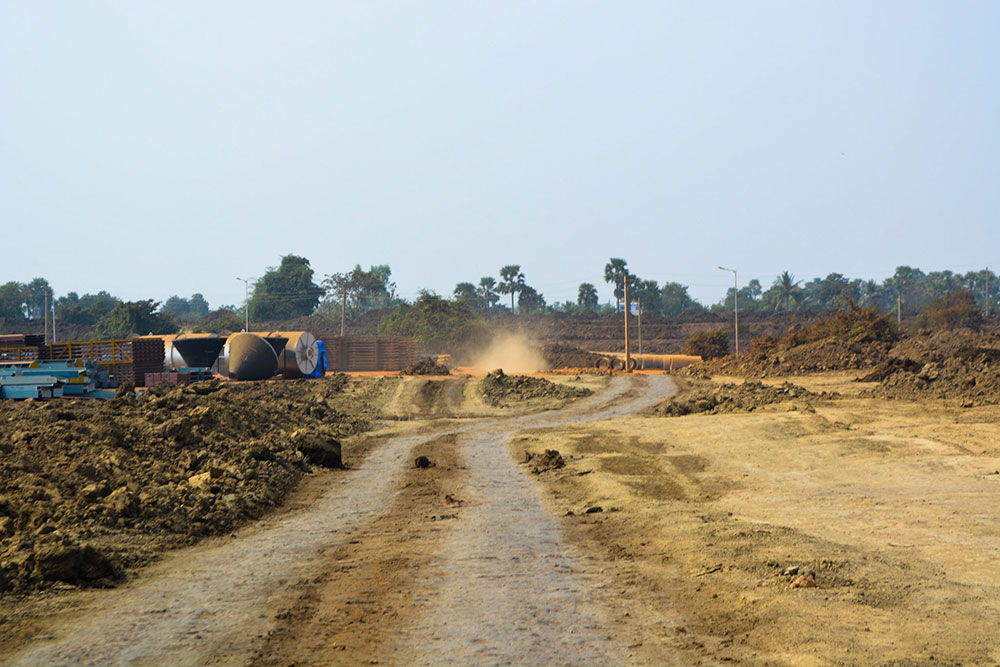 Construction material is piling up at the demarcated site. Photo credit: Ayesha Minhaz