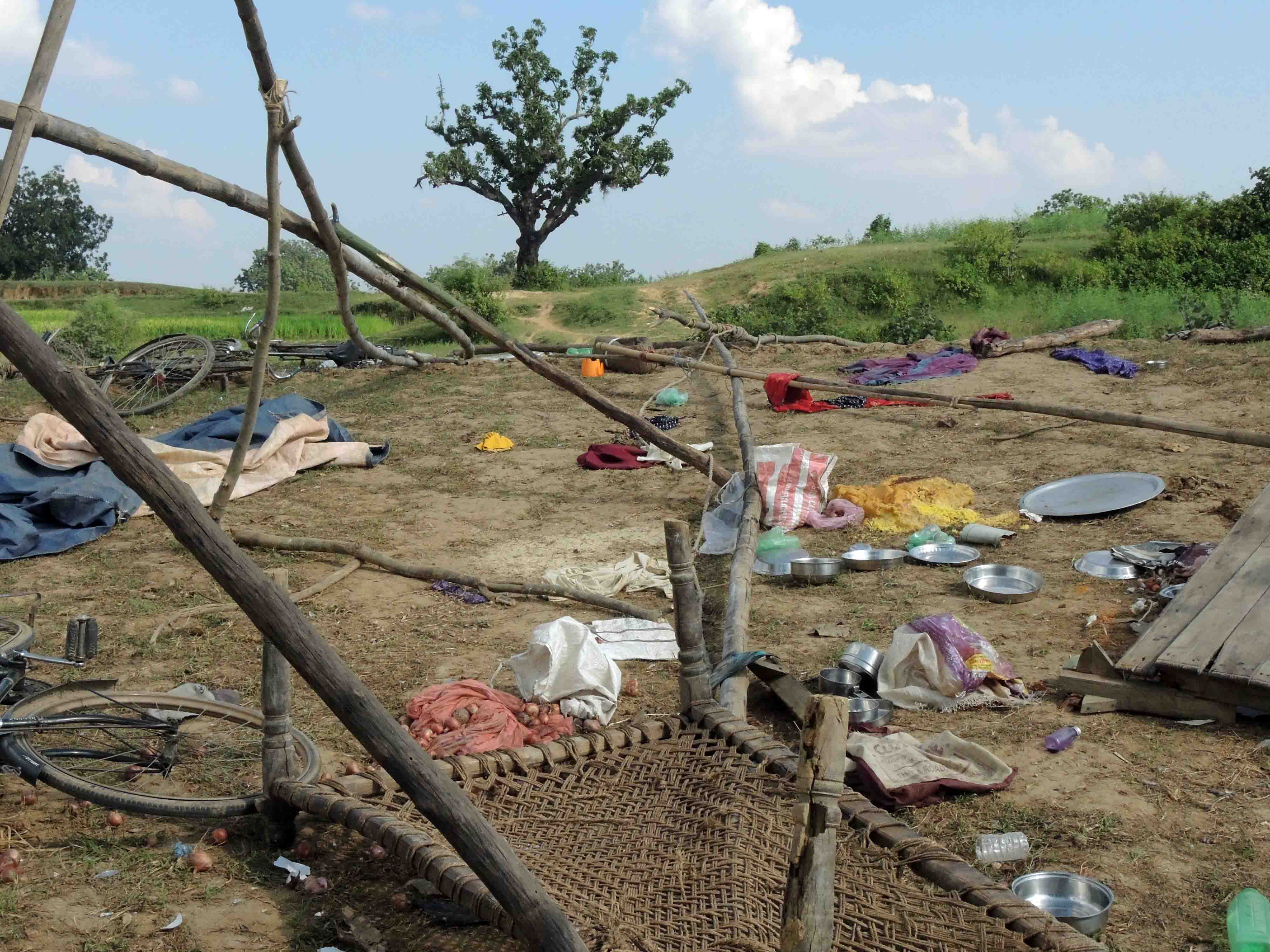 At the protest site in Chiru Barwadih village, the protesting farmers' utensils and blankets lay torn and scattered on Monday. Credit: Manob Chowdhury