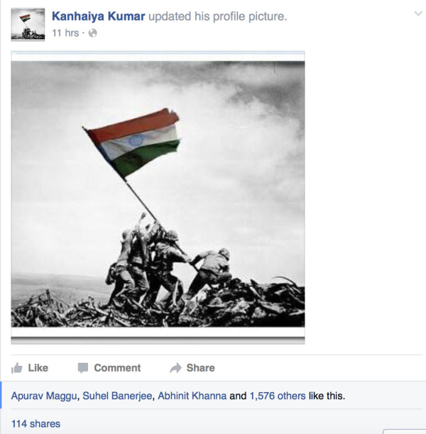 The morphed Iwo Jima picture on JNUSU President Kanhiya Kumar's hacked Facebook page.