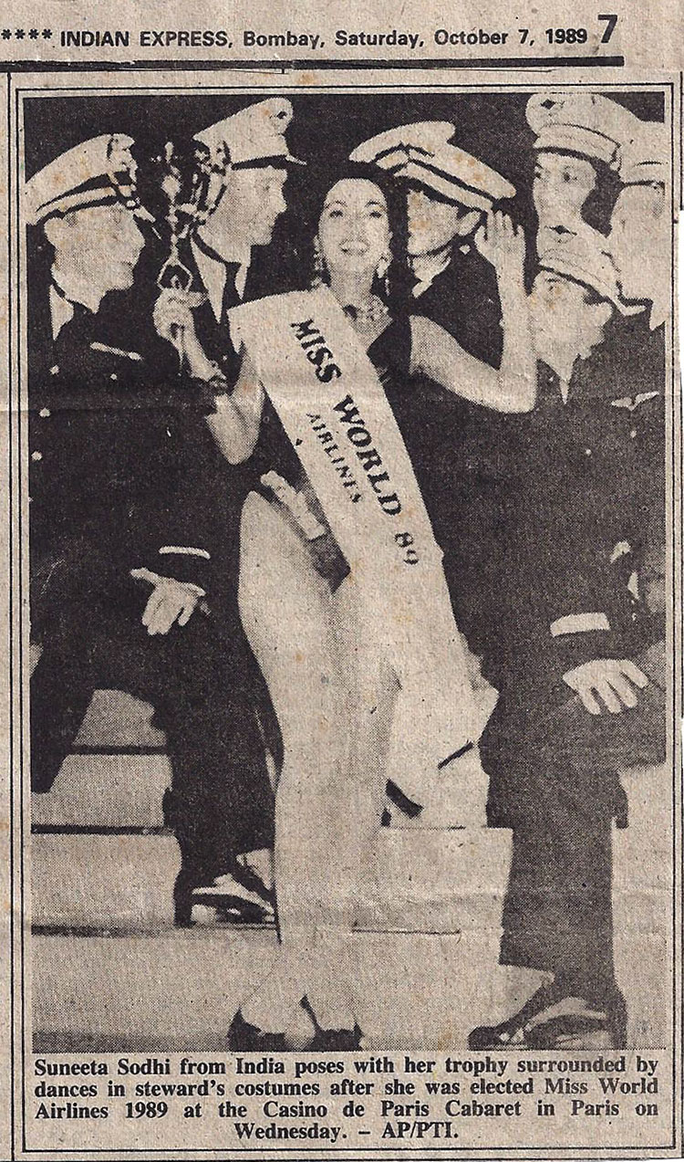 A newspaper clipping of Suneeta Sodhi-Kanga's pageant win in 1989. Photo courtesy: Suneeta Sodhi-Kanga