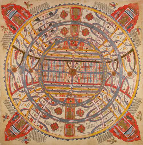 Adhai-dvipa, 'Two and a half continents'. Painting on cloth, 18th century (British Library Or 13937).