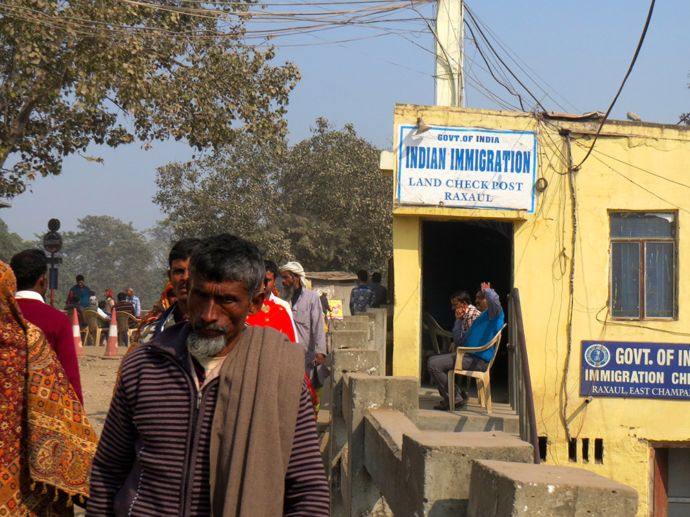 The immigration post in Raxaul on the India-Nepal international open border. For some months only pedestrians were allowed on the bridge by Madhesi protesters.