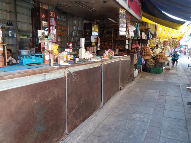 An almost-deserted market in Mumbai.