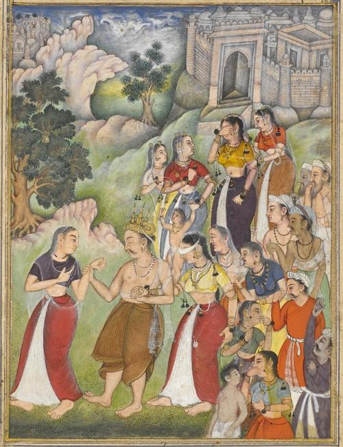 The blind king Dhṛtarāṣṭra, led by Kuntī, leaves the city of Hastinapur and retires to the forest. His wife Gāndhārī, blindfolded, supports him following behind. From the 15th book, the Aśramavāsikaparva (Retirement to the Hermitage). Painting attributed to Dhanū (Or.12076, f.110v)