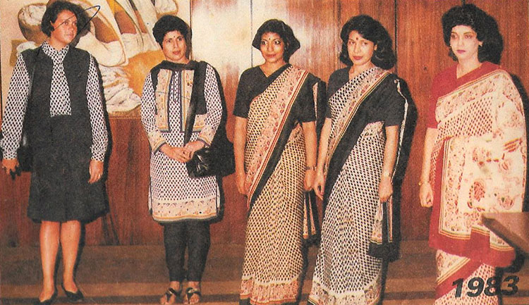 Mahrukh Chikliwala (second from right) and her colleagues display the new uniforms introduced by Air India in 1983. Photo courtesy Mahrukh Chikliwala
