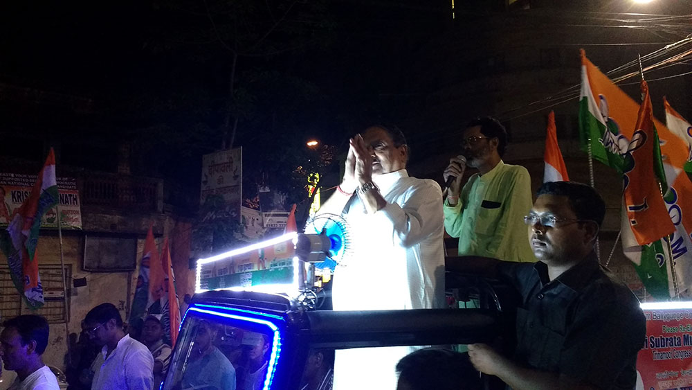 Subrata Mukherjee campaigning in his neon-lit jeep.