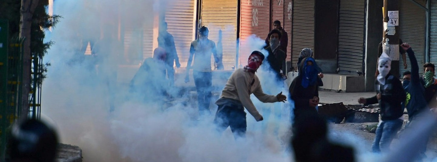 Clashes between protesters and security forces in Kashmir. Photo credit: PTI.