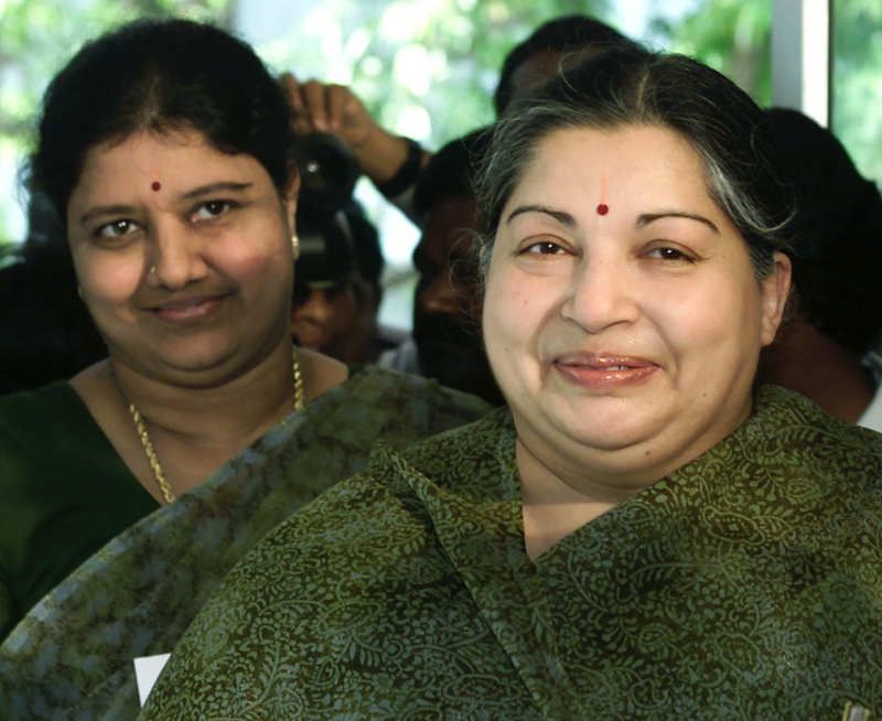 J Jayalalithaa with her friend and companion Sasikala Natarajan. (Photo credit: Reuters).