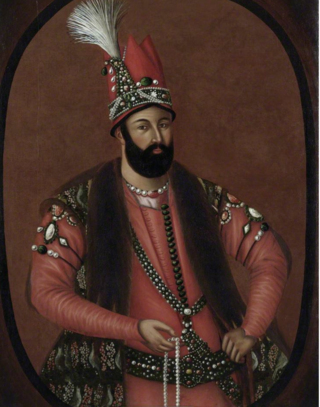 Three-quarter length portrait of Nādir Shāh, Shah of Iran (r. 1736–1747), painted by an anonymous artist ca. 1740. Oil on canvas (British Library F44)