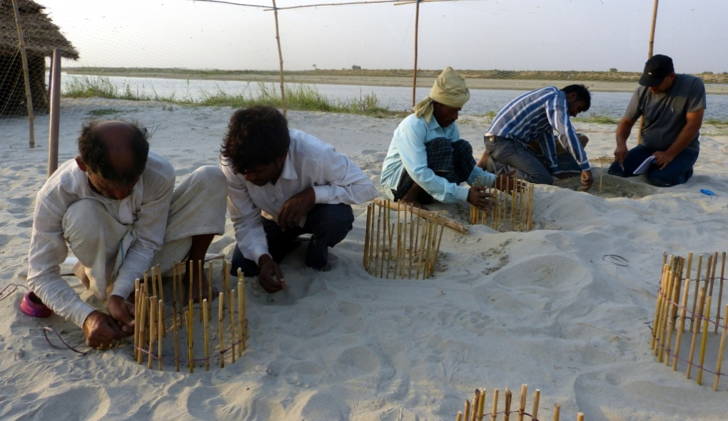 Local farmers being trained to protect turtle nests in Hastinapur [image by WWF-India]
