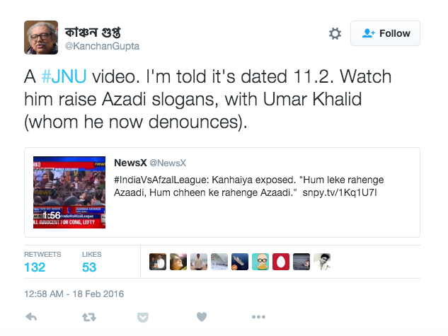 Kanchan Gupta, director of the recently shut right wing portal, Niti Central shared the video. However, he later deleted this tweet.