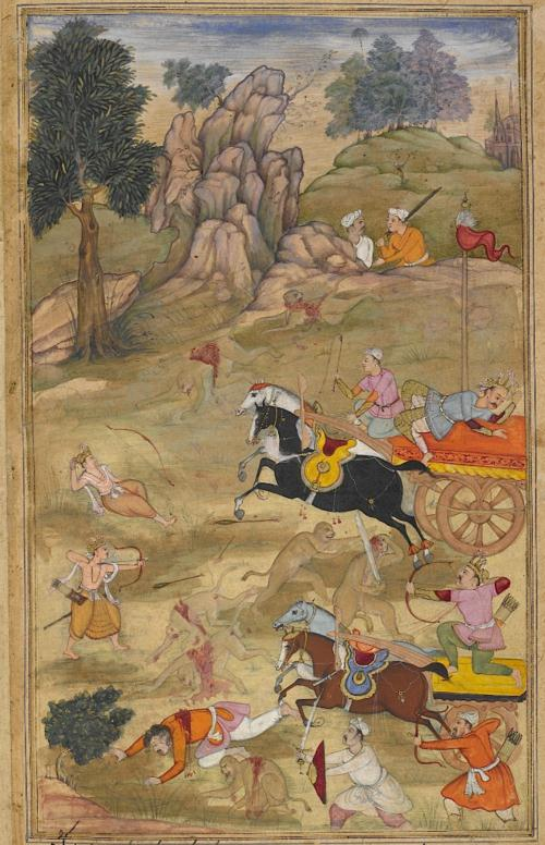 Kusa and Lava defeating Bharata, Lakshmana and the monkey army. European-type Gothic spires are visible on the skyline. Episode from the 14th book, the Aśvamedhikaparva (horse sacrifice). Painting attributed to Ās, son of Mahesh (Or.12076, f.62v).