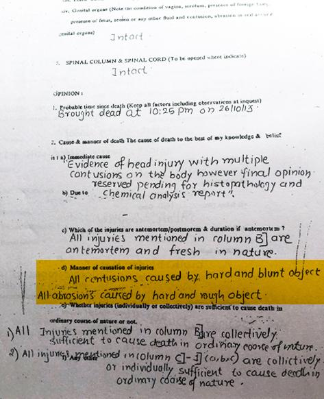 Copy of post-mortem report of Aniket Khicchi, October 28, 2013.