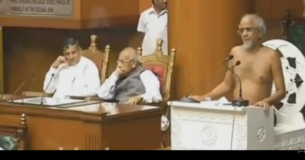 Watch: Jain monk Tarun Sagar addresses  Haryana Assembly in the nude, offers  sociopolitical tips