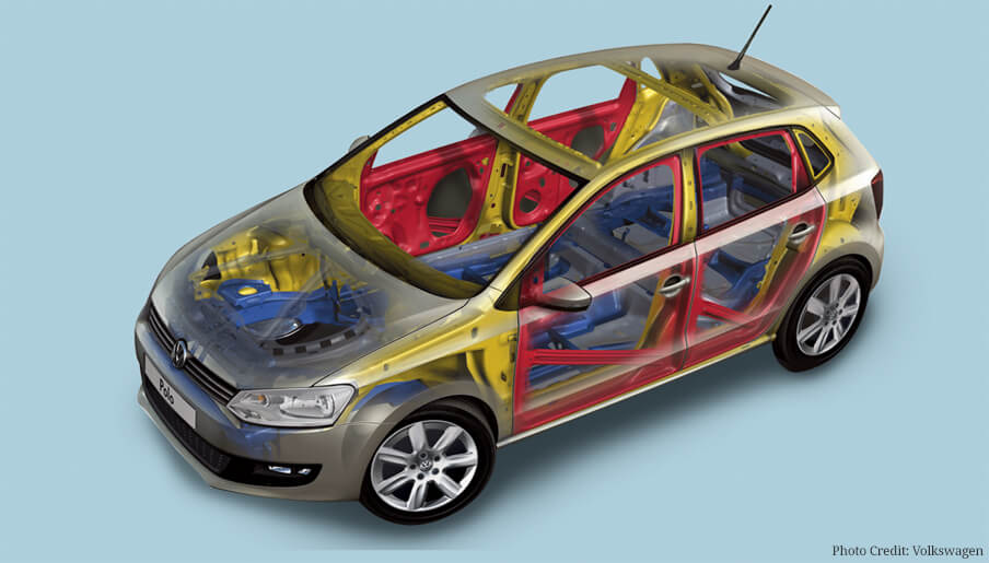CRUMPLE ZONES: Invented in the 1950s, crumple zones are softer vehicle sections that surround a safety cell that houses passengers. In a crash, these zones deform and crumple to absorb the shock of the impact. In the visual, the safety cell is depicted in red, while the crumple zones of the car surround the safety cell.