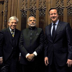Even on his UK visit, Modi demonstrated that he always knows where the camera is
