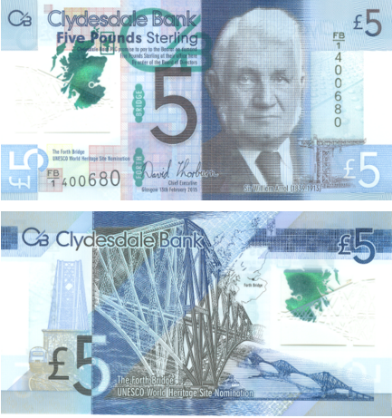 Issued by Clydesdale Bank, the Scottish five-pound note has engineering entrepreneur William Arrol on the front, whose company built the Forth Bridge in 1890 and is still considered a marvel.