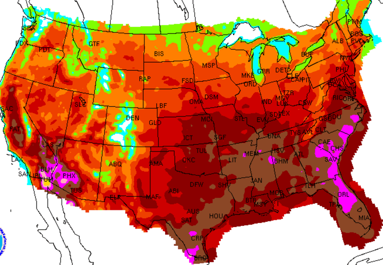 NOAA Forecast Daily Maximum Heat Index