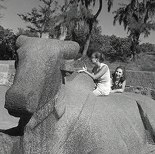 With her mother Rita at Mahabalipuram, India, 1964.