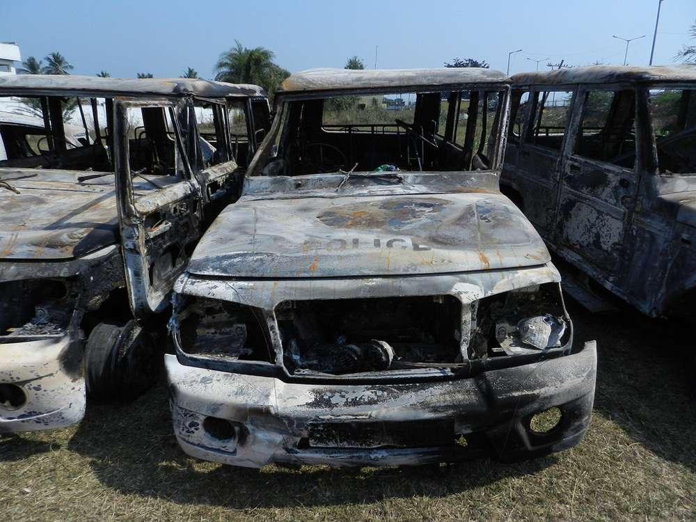 Burnt vehicles at Velama Kothuru police station. Photo credit: Y Jaswanth