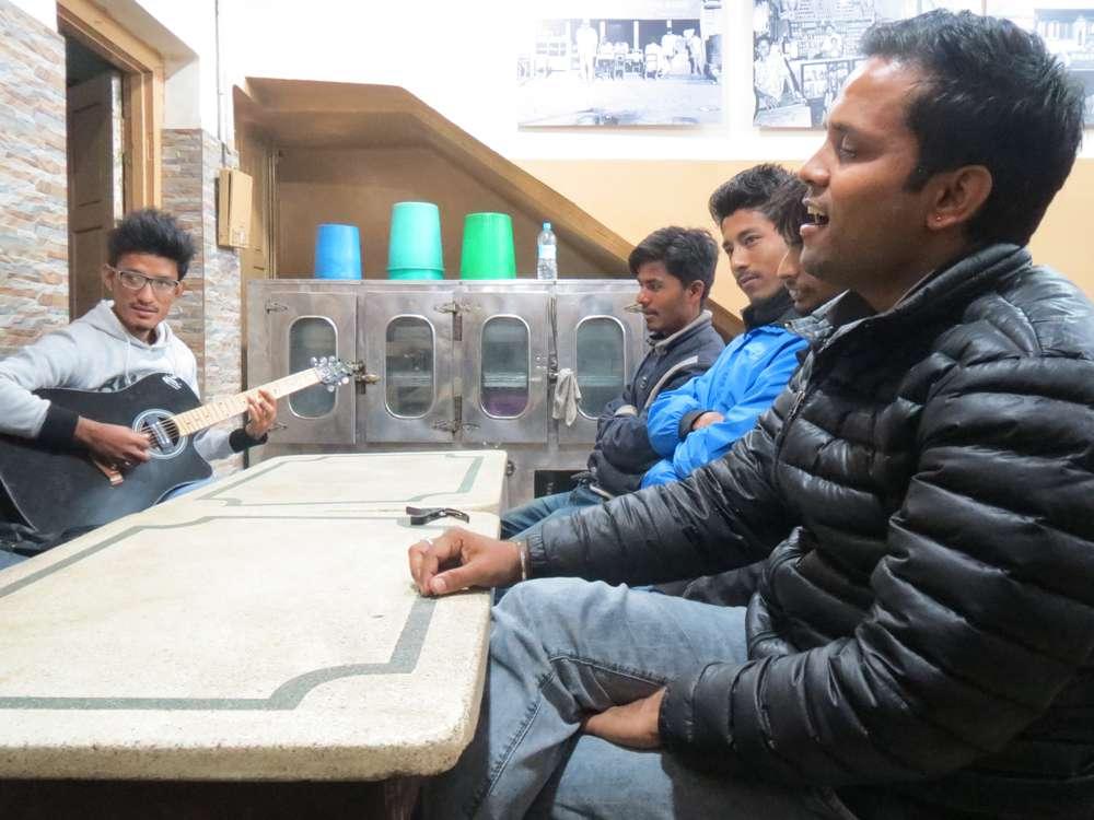 Members of a band called Sanskriti jamming in a restaurant in Birgunj.