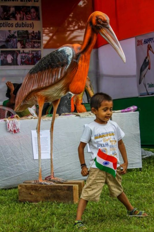 A child stands proudly beneath a Greater Adjutant statue on India's Independence Day. Image Credit: Aaranyak