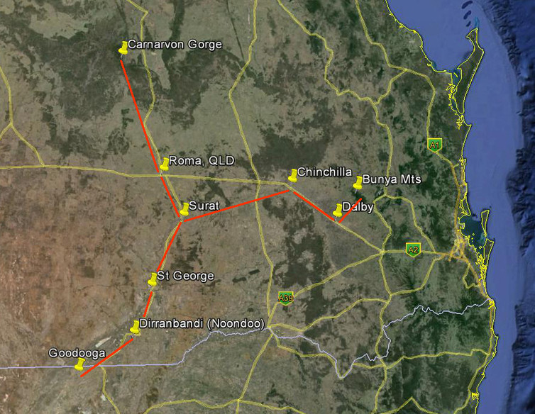 Carnarvon Gorge and Bunya Mts star maps overlaid on road map. Google Earth