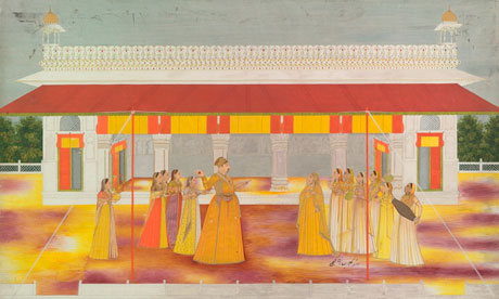 Muhammad Shah celebrating Holi, c1737 in the Red Fort. Painter: Bhupal Singh. Photograph: Bodleian Library, University of Oxford.