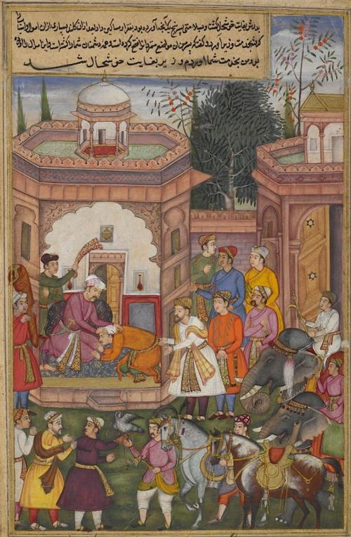 Candrahāsa kneeling before the Raja of Kuntala on being presented to him by the minister Dhṛṣṭabuddhi after Candrahāsa's victory over the king's enemies. The elephants, horses and hawk are booty from the enemy. Episode from the 14th book, the Aśvamedhikaparva (horse sacrifice). Painting attributed to Kanhar (Or.12076, f.83v).