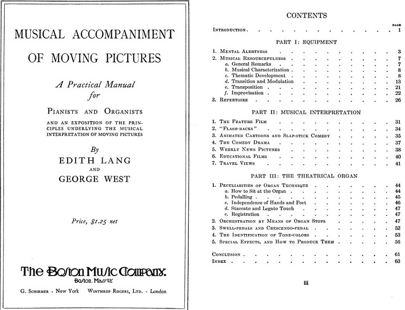 Pages from the manual 'Musical Accompaniment of Moving Pictures'.