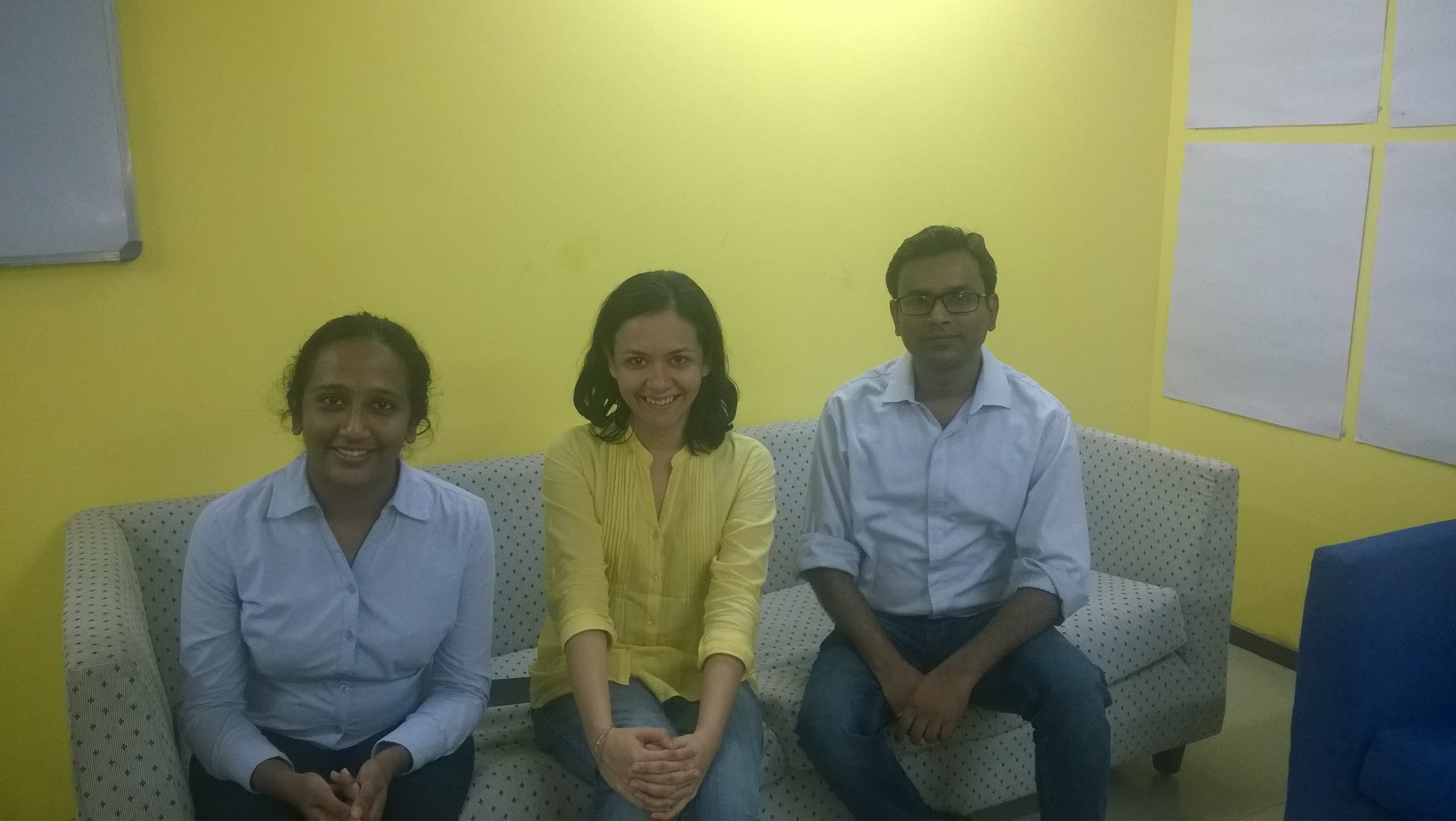 Three of Nyaaya's five core team members: Nidhisha Philip, Srijoni Sen and Kunal Rachhoya. Photo courtesy Nyaaya.in