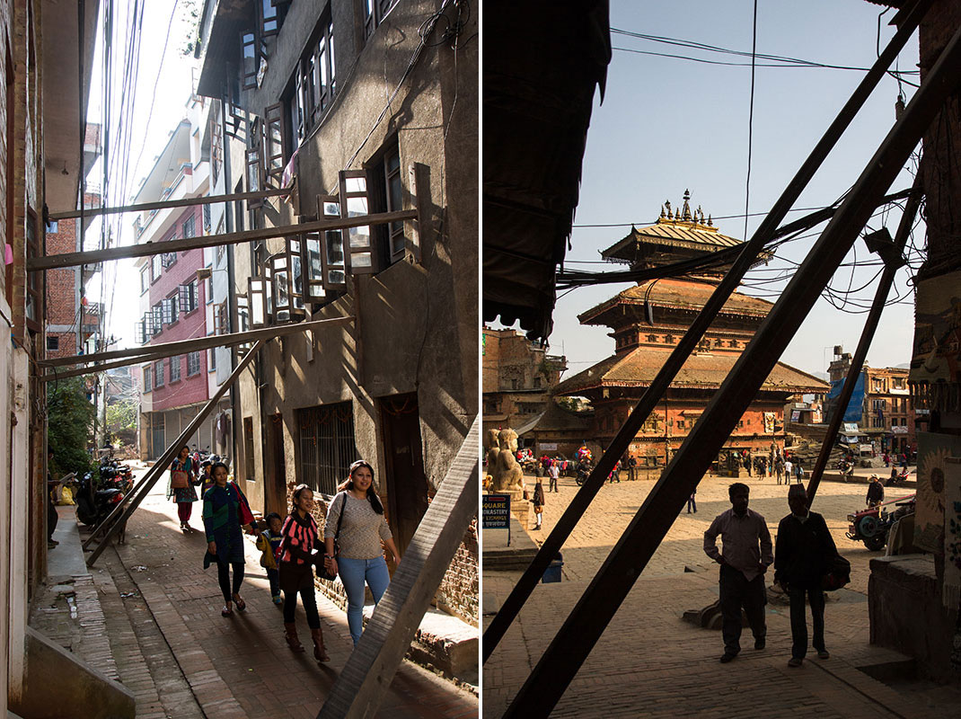 A common sight in the Valley: Heavy wood beams support buildings in Patan (left) and Bhaktapur (right).