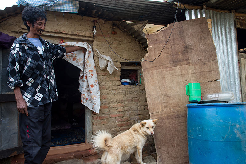 After Dilbahadur Khadki's three-story house in Dharmasthali, a small town outside Kathmandu, was reduced to rubble by t¬he earthquake, he was given sheets of corrugated tin to build a new structure. Small disbursements from sources like the Red Cross have allowed him to buy rice, but there has been no distribution of aid money from the Nepali government for reconstruction.