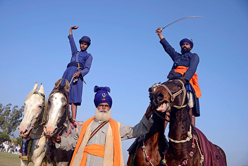 A demonstration of a Sikh martial art known as gatka.