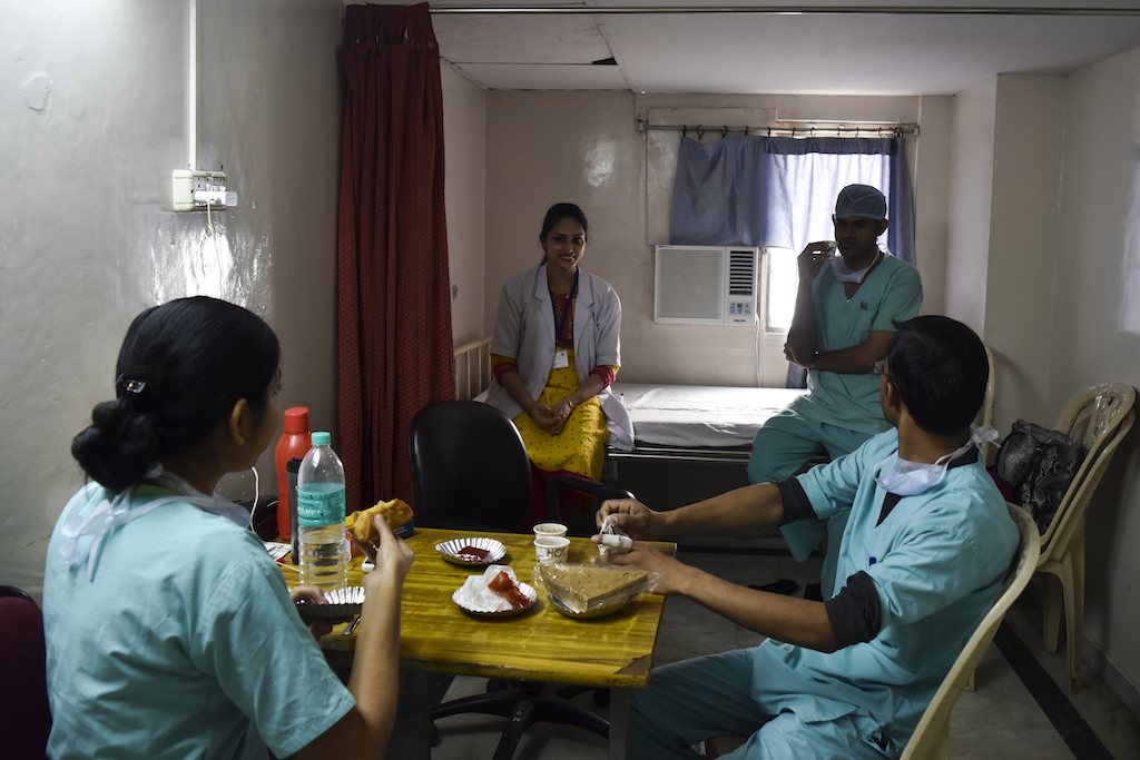 Nursing staff take a tea break in the middle of their busy routine.