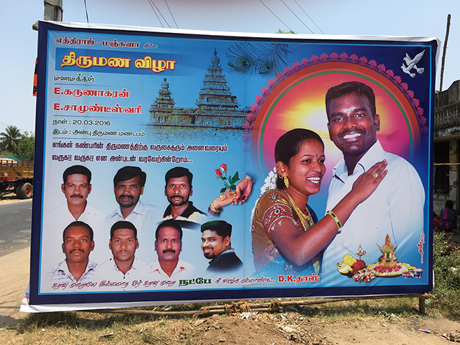 Flex boards are the new status symbols in Tamil Nadu. Here, a board announces a wedding.