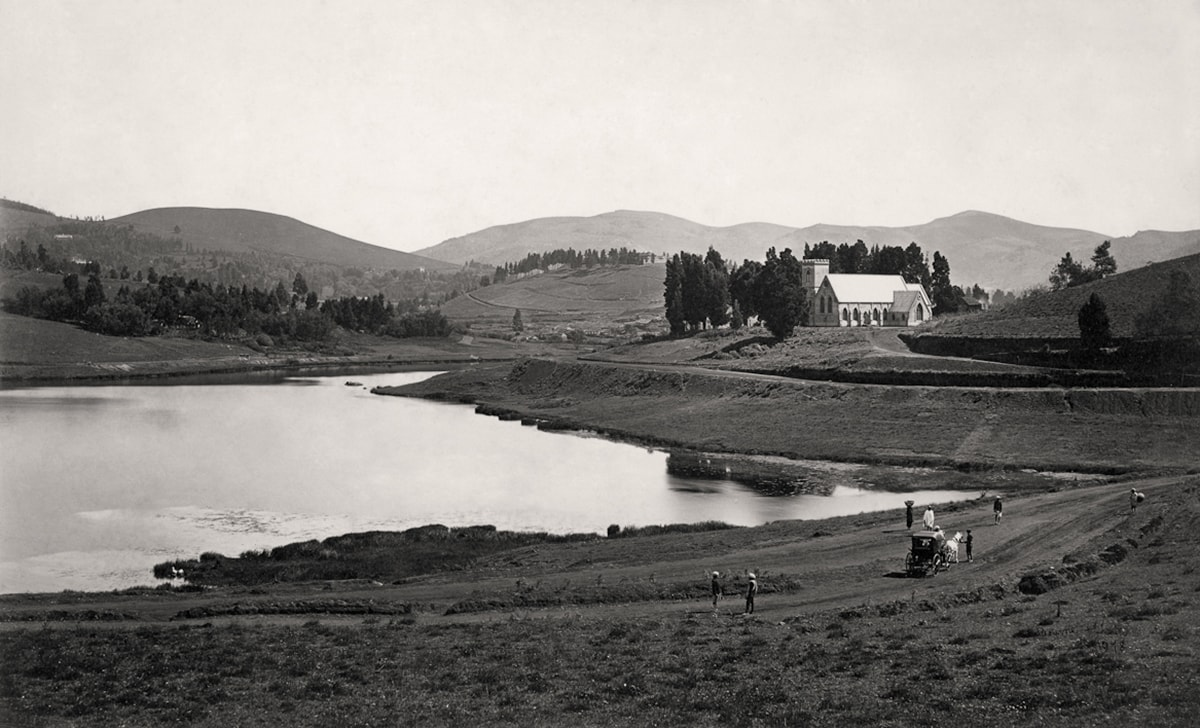 Ooty (formerly Ootacamund), the lake and the new church from near Audrey House c. 1869/Samuel Bourne. Courtesy: MAP/Tasveer