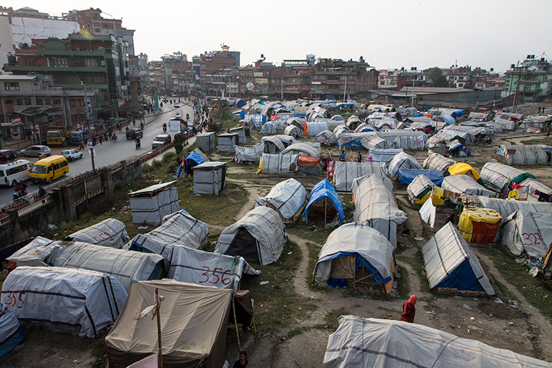 Managed by UNICEF, the Chuchepati tent camp houses 3,500 internally displaced persons in Kathmandu. Though the numbers have been falling as people transition to more permanent homes, aid workers are saw a reversal in the trend as firewood replaced cooking gas owing to the blockade. Residents in rented apartments could not cook with firewood in their kitchens and so returned to the tent camps.