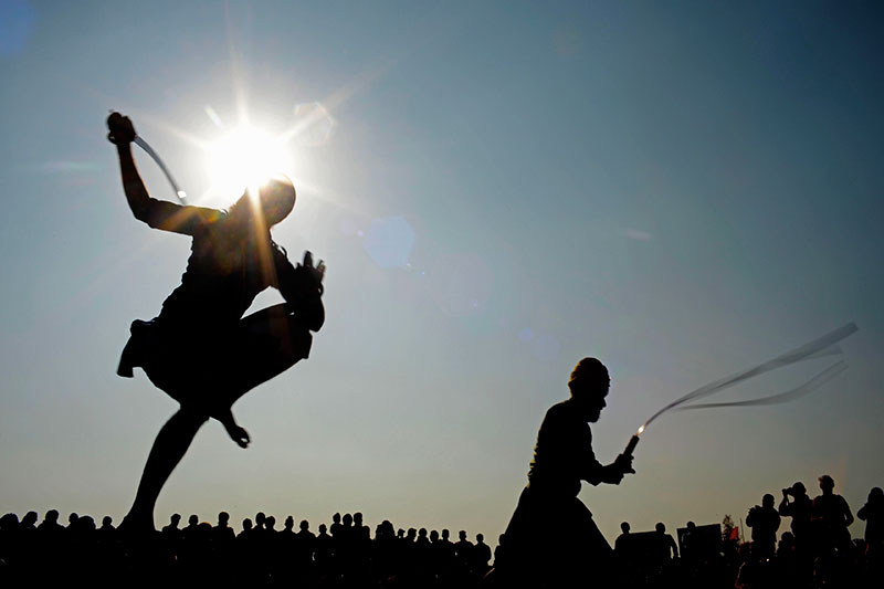 A performance of gatka, a martial art that is considered to be a spiritual exercise, in addition to a physical one.