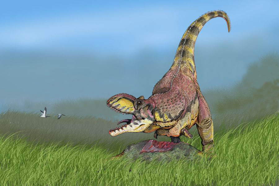 Restoration of Rajasaurus with prey (Wikimedia Commons)