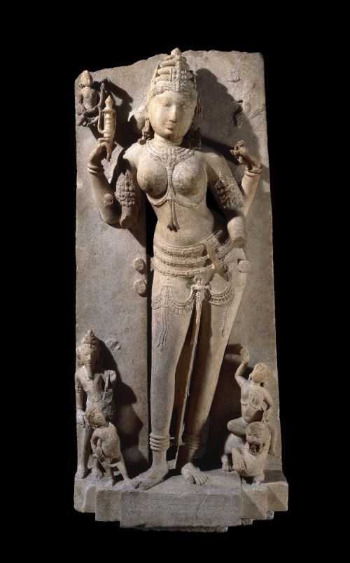 Photo Courtesy: British Museum. Standing figure of the Jaina yaksini Ambika carved in a coarse white marble.