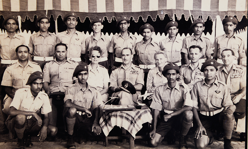 Air Commodore Wladyslaw Turowicz (Second from right), Mrs Zofia Turowicz (Third from left) with other officers and cadets (1954, Chaklala).