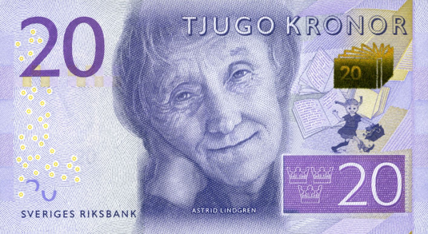 The Swedish 20-krona banknote featuring children's author Astrid Lindgren, who created Pippi Longstocking.