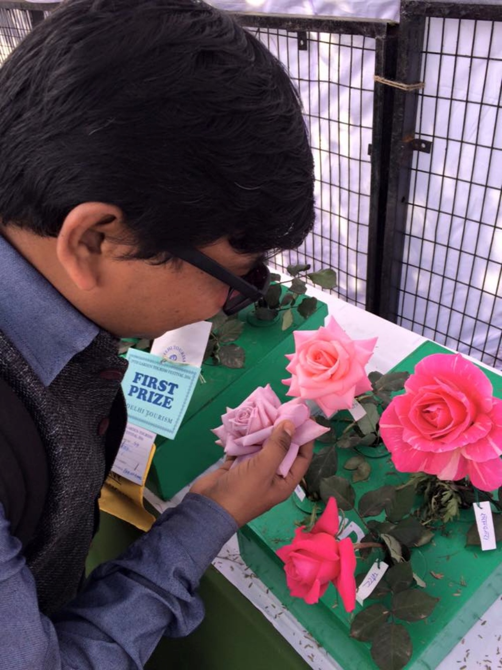 Above and below: A visually-impaired person touches flowers during a trip to Delhi's Garden Tourism Festival in February. (Photo courtesy: Planet Abled)