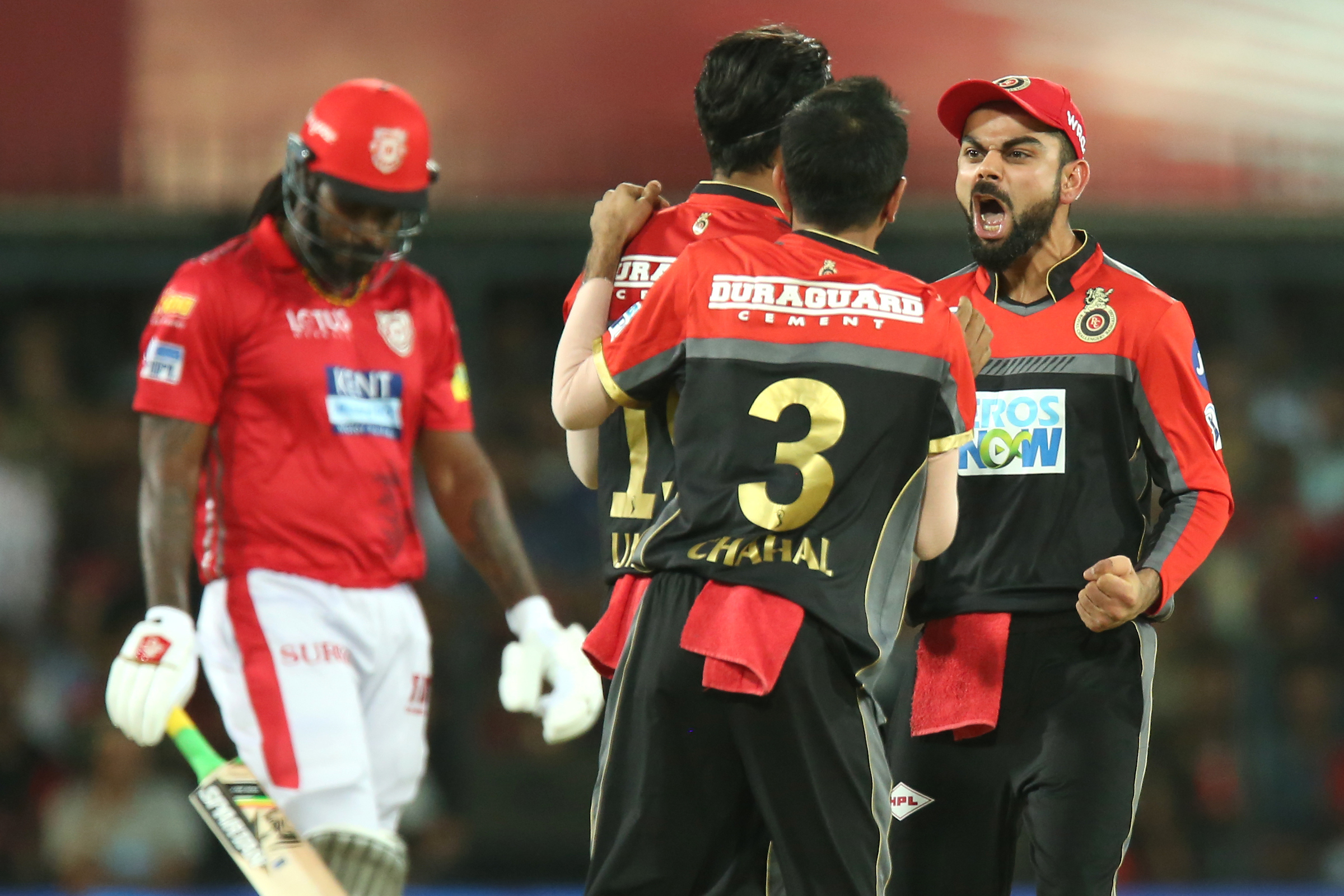 Virat Kohli is thrilled as Umesh Yadav gets rid of Chris Gayle