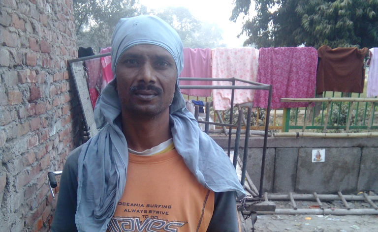 Veer Pal, 42, is employed at a fiber plate factory in Mayapuri. He refused to accept his wages in old high-denomination notes.