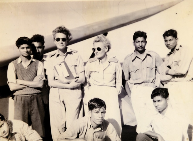 Mrs Zofia Turowicz (third from left) with other instructors and cadets (Chaklala,1954).