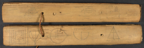 Illustrated folios from the Navagrahakundalaksana, in an 18th Century palm leaf manuscript from the Digambara tradition, collected by Colin Mackenzie in Karnataka in the early 19th Century (BL Mackenzie XII.14, ff. 2-3)