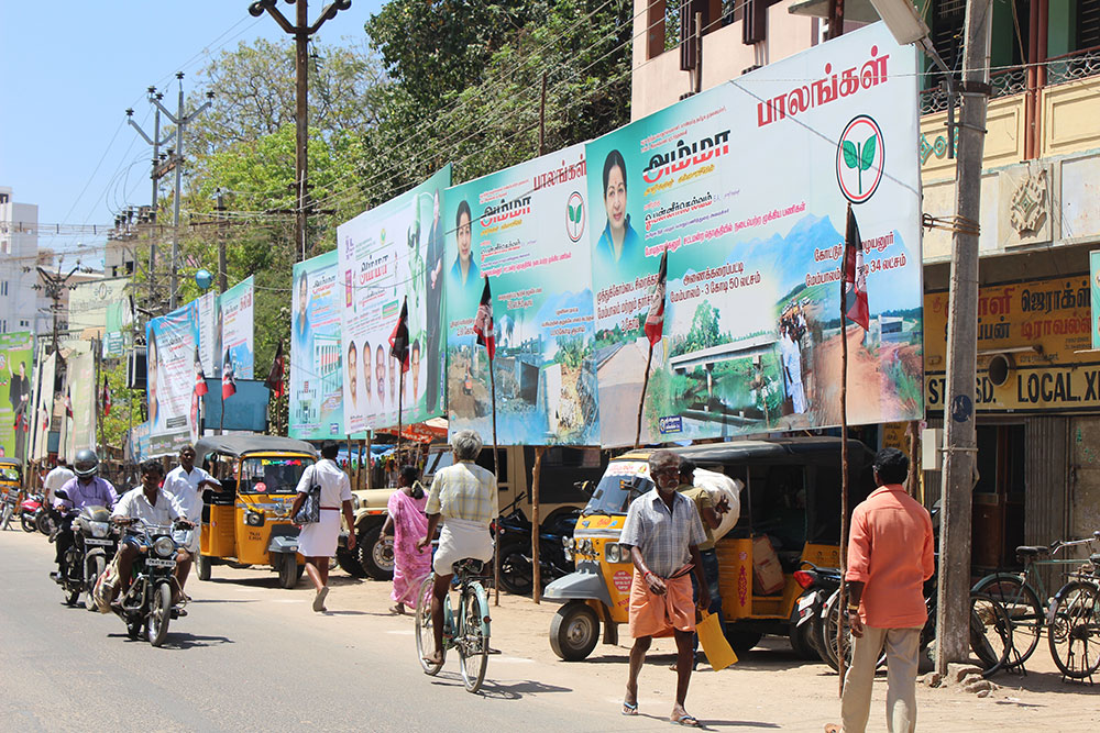 Hoardings have been erected across Theni detailing the AIADMK government's achievements but not a single one of them has a picture of O Panneerselvam. Credit: Sandhya Ravishankar