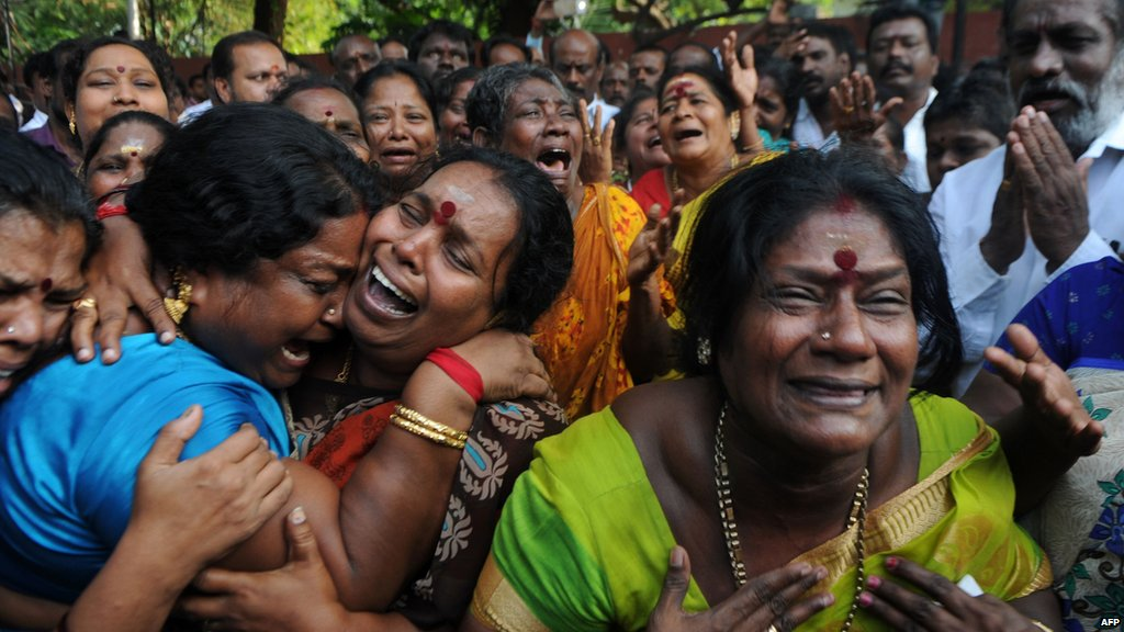 Supporters mourn Jayalalithaa's death in Chennai.